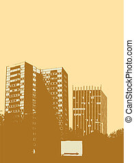 city centre - City centre scene in yellow and brown with a...