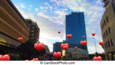 City centre with flying heart icons 4k