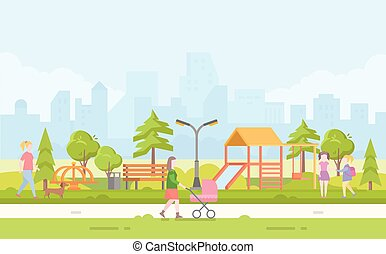 City children playground - modern cartoon vector illustration