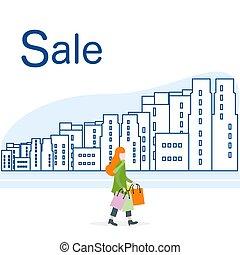 city., cielna, concept., sprzedaż, kobieta, zakupy
