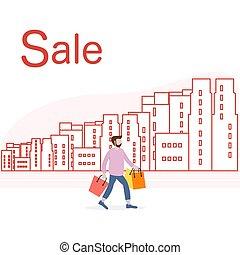 city., cielna, concept., sprzedaż, zakupy, człowiek