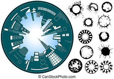 City circle - Abstract illustration of a fish-eye lens city...