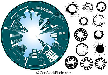 City circle - Abstract illustration of a fish-eye lens city...