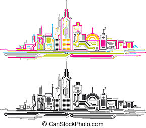 city circuit board - two color city circuit board pattern...