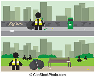 City Cleanup Banners - Banners depicting workers tidying up...