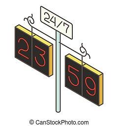City clock icon, isometric style