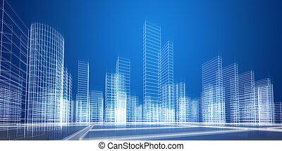 City concept. City 3D rendering