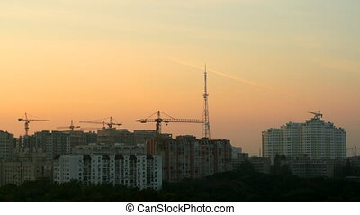 City construction at sunset time lapse
