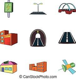 City construction icons set, cartoon style