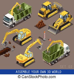 City Construction Transport Isometric Flat 3d Icon Set -...