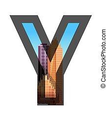 City construction. Typographic illustrations.