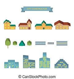 City constructor 3d icons set.