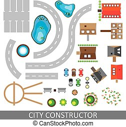 City constructor. Set of urban elements. Vector.