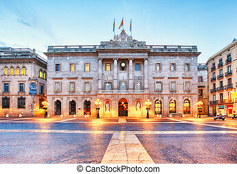 City council on Barcelona, Spain. Plaza de Sant Jaume.