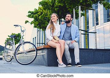 city., couple, après, date, tour bicyclette