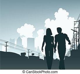 City couple - Editable vector illustration of a couple...