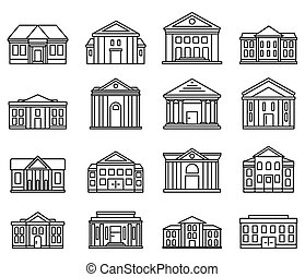 City courthouse icons set, outline style