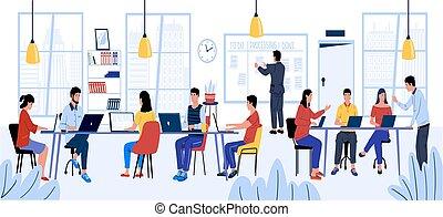 city., coworking., イラスト, チームワーク, communication., 働いている人達, 一緒に, 仕事場, 開いた, 男性, オフィス, 漫画, スペース, ベクトル, 現代, 女性