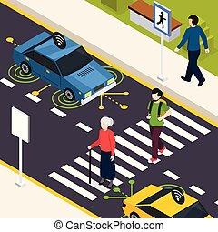 City Crosswalk Isometric Background - City crosswalk...