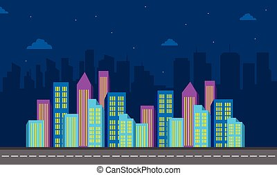 City cuilding color at night of silhouette