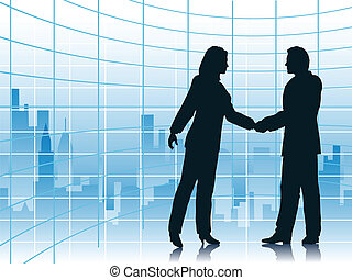 City deal - Editable vector illustration of business people...