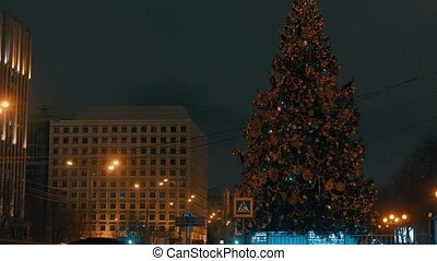City decoration - Christmas tree in the night
