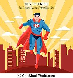City Defender Flat Vector Illustration
