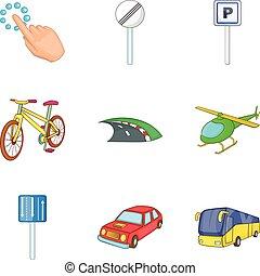 City destination icon set, cartoon style - City destination...