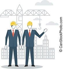 City development, construction worker