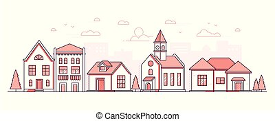 City district - modern thin line design style vector...