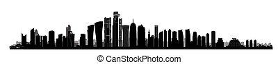 City Doha skyline. Arabic Urban cityscape. Qatar skyscraper...