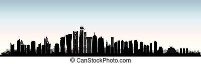 City Doha skyline. Arabic Urban cityscape. Qatar skyscraper building