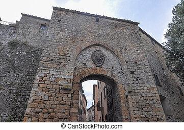 City door in Volterra - An ancient city door in Volterra, ...