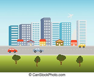 City downtown and shops - Big city downtown skyline with...