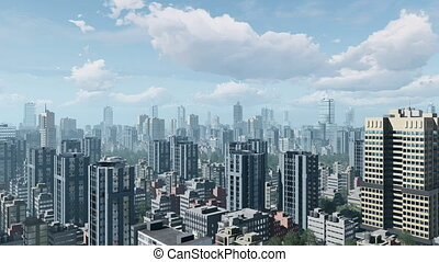 City downtown and time lapse clouds sky 4K