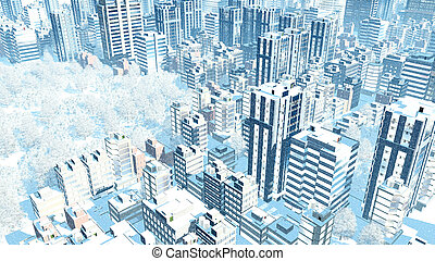 City downtown at snowfall winter day aerial view
