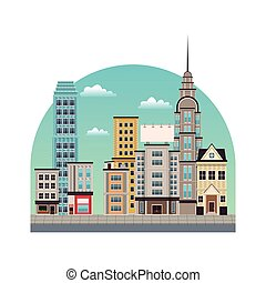 city downtown buildings style