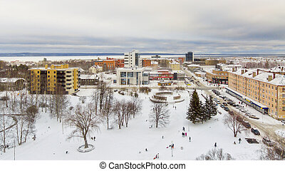 City downtown in winter, aerial view