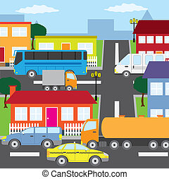 City. - Illustration of city, houses and vehicles in sunny...