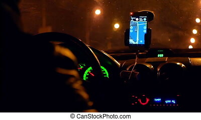 City driving taxi night