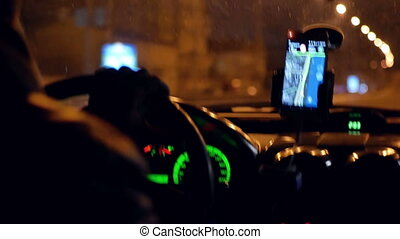 City driving taxi night - City driving in ar slow motion