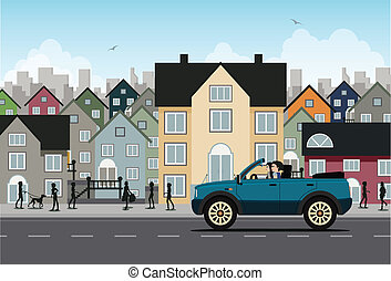 City driving - Women are driving a 4x4 building as a...