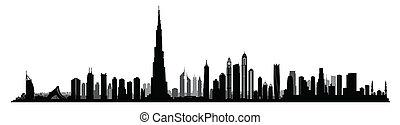 City Dubai skyline. UAE cityscape United Arab Emirates urban...