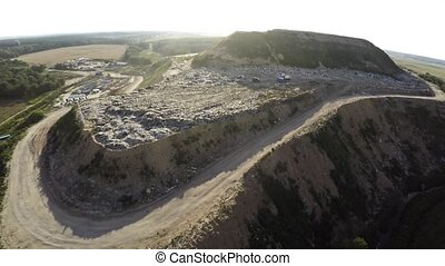 City dump household waste. Aerial photography. - City dump...