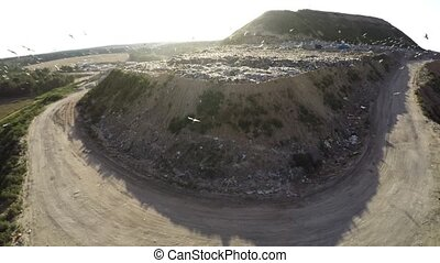 City dump household waste. Aerial photography.