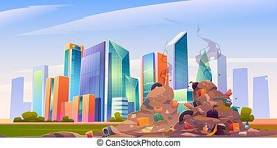 City dump with pile of garbage, dirty junkyard - City dump ...