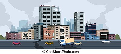 City earthquake. Cartoon natural disaster landscape with...