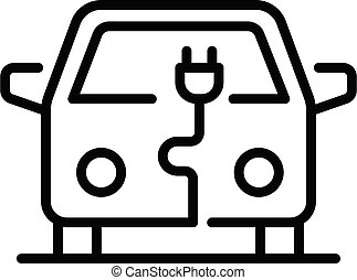 City electric car icon, outline style - City electric car ...