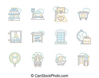 City elements color line vector icons set
