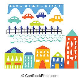 City elements - houses, cars, bridge - cartoon illustration